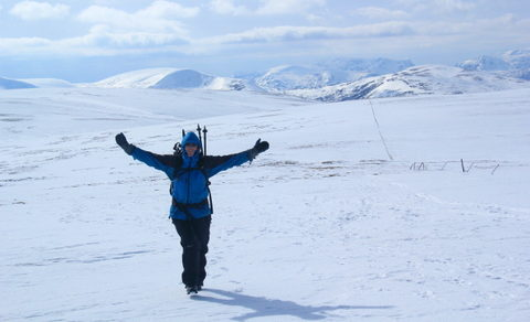 Mary Mulvihill, seen here snow trekking, encouraging us all to celebrate science for the love of it.