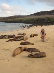 Mary Mulvihill on a beach in Galapagos Islands
