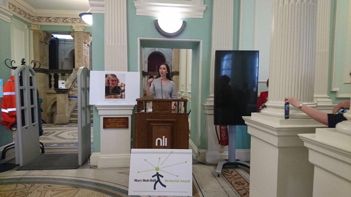 Irene Fogarty accepting the 2017 Mary Mulvihill Award