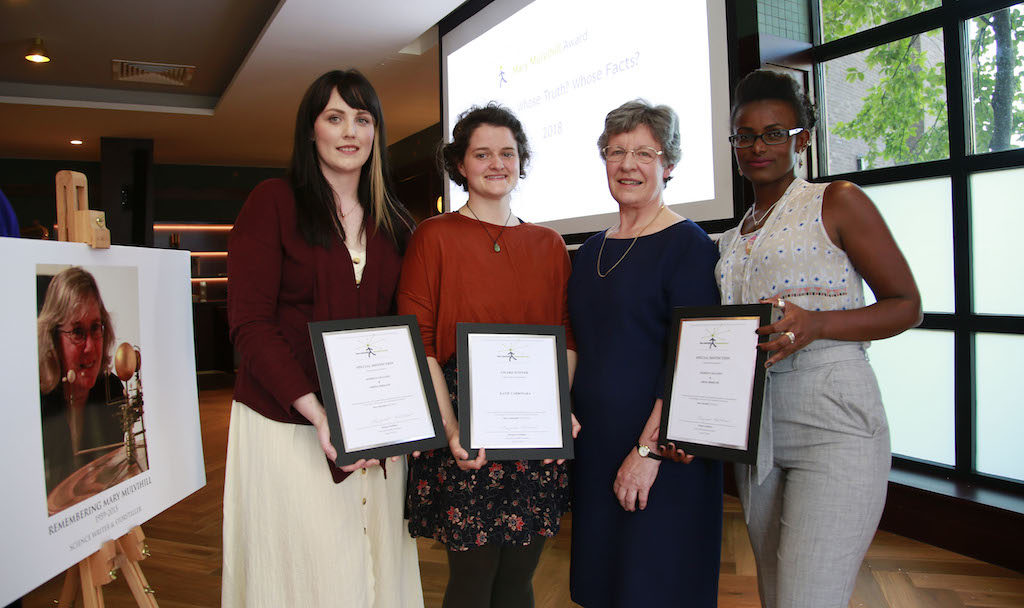 Siobhán Grayson, Katie Carbonara and Abeba Birhane (2018 Award Recipients) with Jocelyn Bell Burnell.