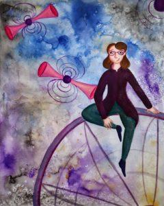Illustration of Jocelyn Bell Burnell by Laura Katharine Finnegan